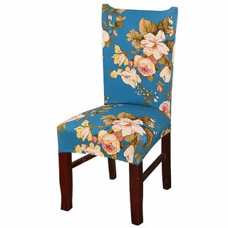 House of Quirk Elastic Chair Cover Stretch Removable Washable Short Dining Chair Cover Protector Seat Slipcover - Blue Flower