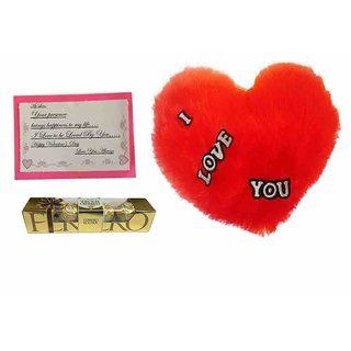 Loops n Knots Valentine's Day Gift I Love You Red Heart Cushion, Ferrero Rocher Chocolates 4 Pcs with Card
