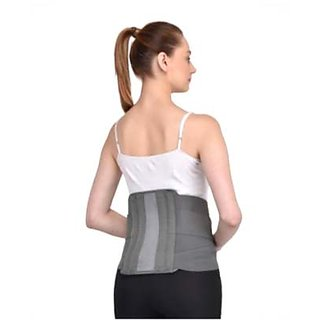 Kudize Lumbar Sacral (L.S.) Belt Contoured Spinal Brace Mild Lower Back Support Grey - XXL (110 to 120 cm)