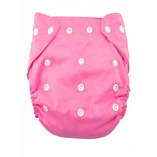House of Quirk 1pc Adjustable Reusable Baby Washable Cloth Diaper Nappies for Babies of Ages 0 to 2 Years- Pink