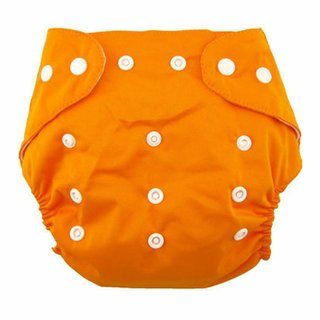 House of Quirk 1pc Adjustable Reusable Baby Washable Cloth Diaper Nappies for Babies of Ages 0 to 2 Years- Orange