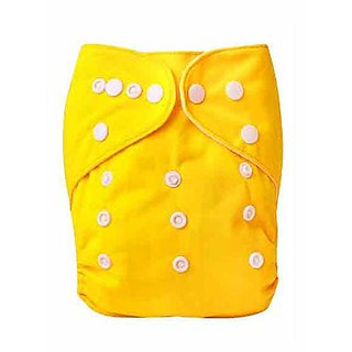House of Quirk 1pc Adjustable Reusable Baby Washable Cloth Diaper Nappies for Babies of Ages 0 to 2 Years- Yellow