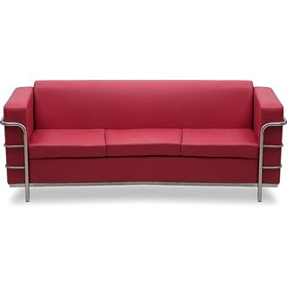 Earthwood Furnitures Leatherette 3 Seater Sofa (Finish Color - Red)