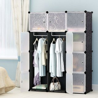 House of Quirk Portable Closet Clothes Wardrobe Storage Organizer with Doors Capacious Sturdy Black 6 Cubes+2 Hangi