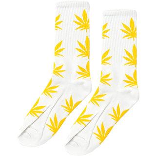 69th Avenue Men's Yellow Cotton Spandex Leaf Printed Crew Length Socks