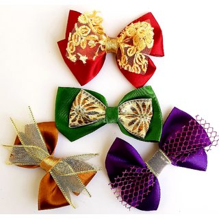 KEJO SATIN RIBBON BOW CLIPS OF 4 COLORS- Hair Clip for girls/ baby girls