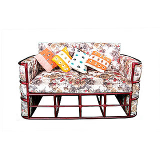 Boocane 2 Seater Rattan/Cane (RED WALNUT) sofa clear coat matte finish with Upholstery