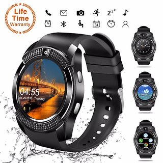 V8 Bluetooth Smart Watch Compatible with All 3G, 4G Phone with Camera and Sim Card Support
