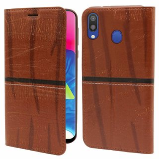 Mascot Max Flip cover artificial leather flip cover wallet cover leather for samsung Galaxy M20 (brown)