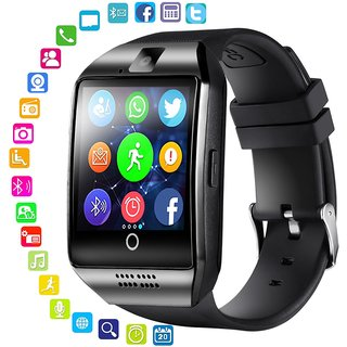 Q18 Bluetooth Unisex Smartwatch with SIM Card Slot for Android Smart Phones, iOS - Black