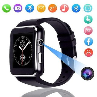 X6 Bluetooth Unisex Smartwatch with SIM Card Slot for Android Smart Phones, IOS - Black