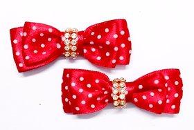 KEJO A PAIR OF POLKA DOTTED SATIN RIBBON FOR BABY GIRLS/ GIRLS Hair Clip