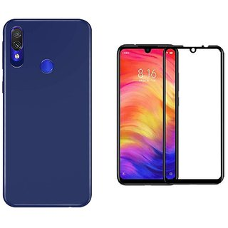 Mascot Max back cover blue slim shock proof flexible cover with 5D 9h black glass for Redmi note7