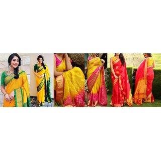 Sharda Creation Multicolour  Bhagalpuri silk saree  Combo saree