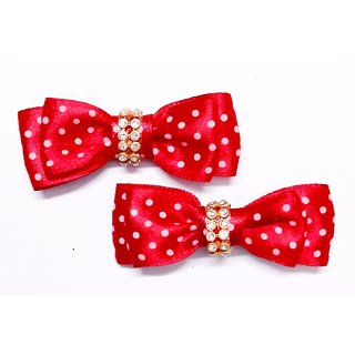 KEJO A PAIR OF POLKA DOTTED SATIN RIBBON FOR BABY GIRLS/ GIRLS Hair Clip