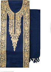 Varun Cloth House Womens Woollen Kashmiri Embroided Dress Material (vch5806, Navy, Free Size)