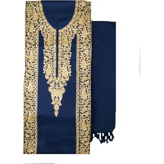 Varun Cloth House Womens Woollen Kashmiri Embroided Dress Material (vch5806, Navy, Free Size)