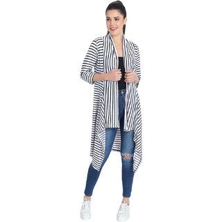 BuyNewTrend White Hosiery Lycra Striped Long Shrug For Women