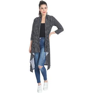 BuyNewTrend Black Hosiery Lycra Striped Long Shrug For Women