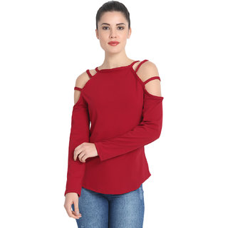 BuyNewTrend Maroon Cotton Blend Sexy Cold Shoulder Cut Long Sleeve Top For Women