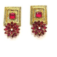 Indian Bollywood Style Alloy Party wear Fashionable Traditional Clip ons Jhumki Earrings for Women and Girls 50 Maroon