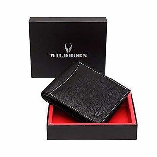 WildHorn Black Leather Mens Wallet