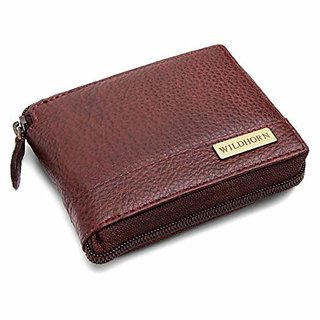 WildHorn Men Bombay Brown Genuine Full Zipper Mens Leather Wallet