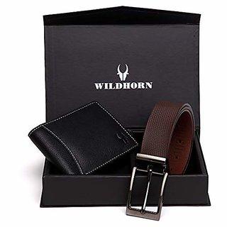 WildHorn Men Black Genuine Leather Wallet Gift Set Combo