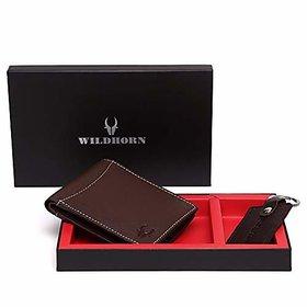 WildHorn Men Brown Genuine Leather Wallet Gift Set Combo