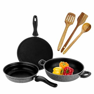 Milion Miracle Non-Stick Cookware Sets 6-Pieces Black Grey
