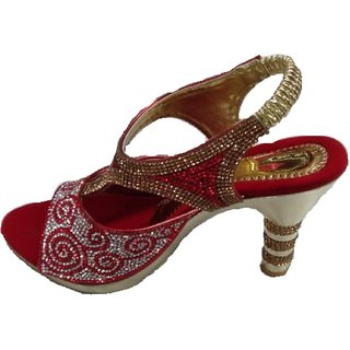 Maniram Creation Women maroon golden Heels 37 SANDEL -001