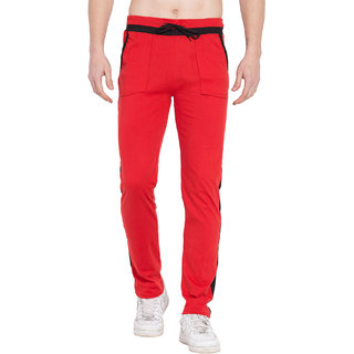Cliths Gym Trackpants For Mens- Red and White Solid Trackpants For Gym / Lowers For Men Cotton