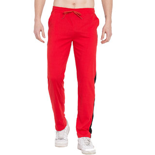Cliths Mens Trackpants For Yoga Red And Black Lower For Men Gym Wear/ Joggers For men