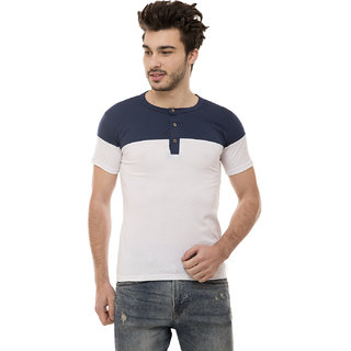 Ample White Half Sleeve Color Block Casual Men's T-Shirt