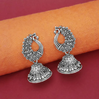 Meia Oxidised Plated Peacock Jhumki Earrings