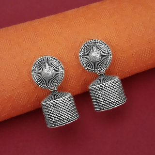 JewelMaze Oxidised Plated Jhumki Earrings