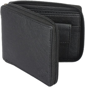 YGreen -  Casual Men's Black Genuine Leatherette Zipper Wallet