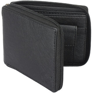 YGreen -  Casual Men's Black Genuine Leatherette Zipper Wallet (Synthetic leather/Rexine)
