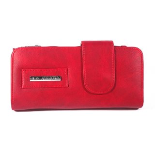 Morgencrafts Maroon Faux Leather Clutch