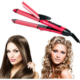 High Qulity Perfect 2 in 1 Hair Curler and Hair Straightener Hair Straightener ( Pink )
