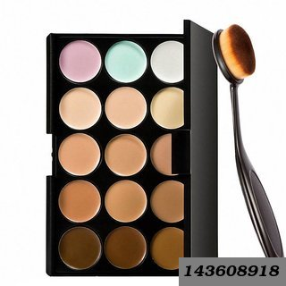 15 Colors Contour Face Creme Makeup Concealer Palette + Make up Brush Pack of 2-C357 (Set of 2)