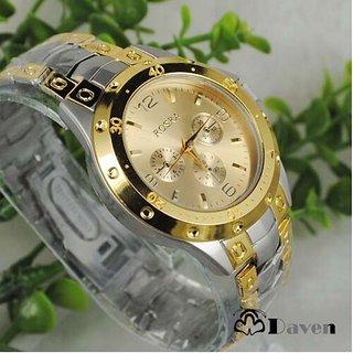 Rosara Gold Round Dial Metal Strap Analog Formal Watch For Men