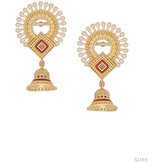 Voylla Temple Bell Faux Pearls Embellished Earrings