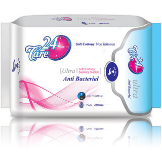 Anti Bacterial Ultra 280 mm Day Night Pack of 8 Pads