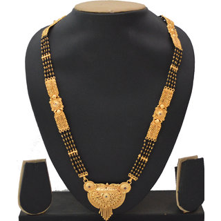 Radhe Krishna Gold Plated Alloy 4 Line Kalkati Work Long 24 inch Only Mangalsutra