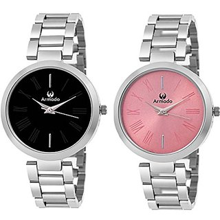 Armado Combo Of 2 Analoge BlackPink Round Dial Watch For Girls And Women_Lds Blk01 Pnk01
