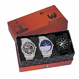 Armado Analogue Grey Dial Mens Watches - Combo of 3