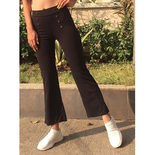 Code Yellow Women's Imported Button Style Stretchable Wide Bottom Pants /Legging/Casual Bottom Wear/Yoga Wear /Sport's Wear