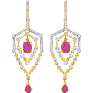 Voylla Pretty Pink CZ Studded Blooming Dales Dangler Earrings