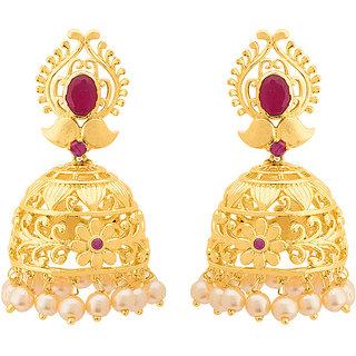 Voylla Floral Pattern Swarnam Jhumka Earrings